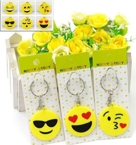 Venda quente 2017 Qq Emoji Chaveiro Pequeno Chaveiro Emoção Amarelo Qq Expressão Recheado Pvc Boneca de Brinquedo 6 Projeto Emoji Pvc Chaveiro C045