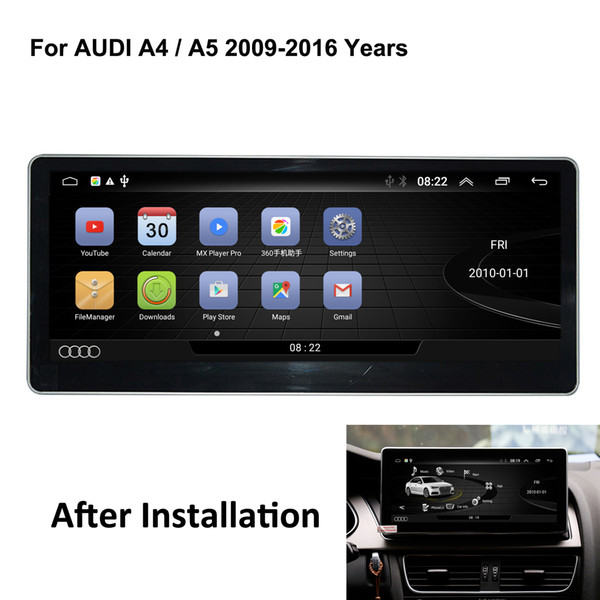 """COIKA 10.25"""" Android System Car Screen Recorder For Audi A4L A5 2008-2016 GPS Navi CAR DVD Mirror Screen WIFI BT Phonebook AUX MP4 Video"""
