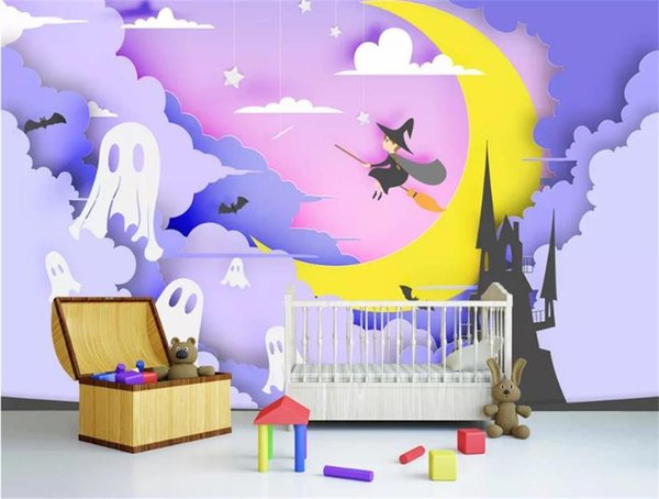 custom size 3d photo wallpaper kids room 3d wall mural halloween paper-cut art 3d picture sofa TV backdrop wallpaper non-woven wall sticker