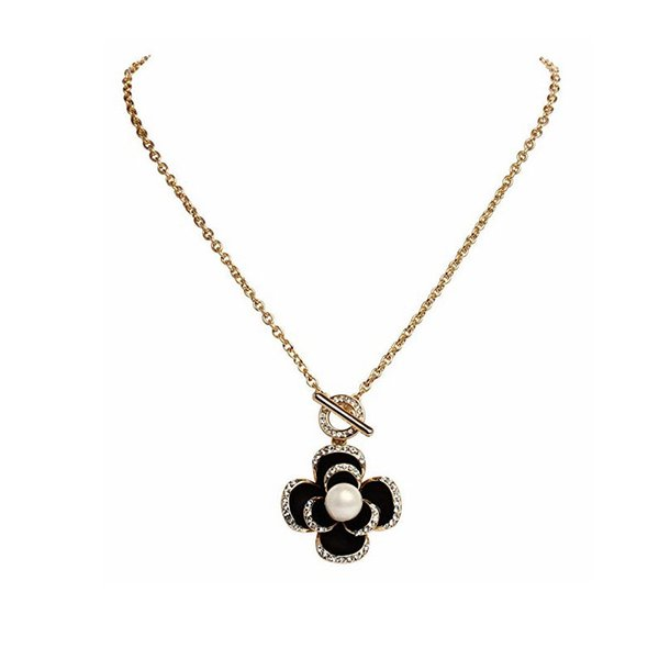 New Black Flowers Famous Luxury Top Brand Designer Fashion Charm Jewelry Pearl Necklace For Women