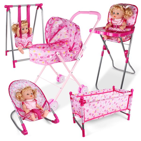 best selling Simulation furniture toy Doll House Accessories Rocking Chairs Swing Bed Dining Chair Baby Play House Pretend Play Toy