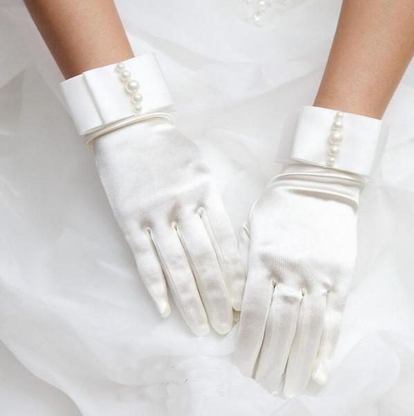 Women's pearl beaded elastic satin glove lady's short sunscreen glove female dancing performance R379