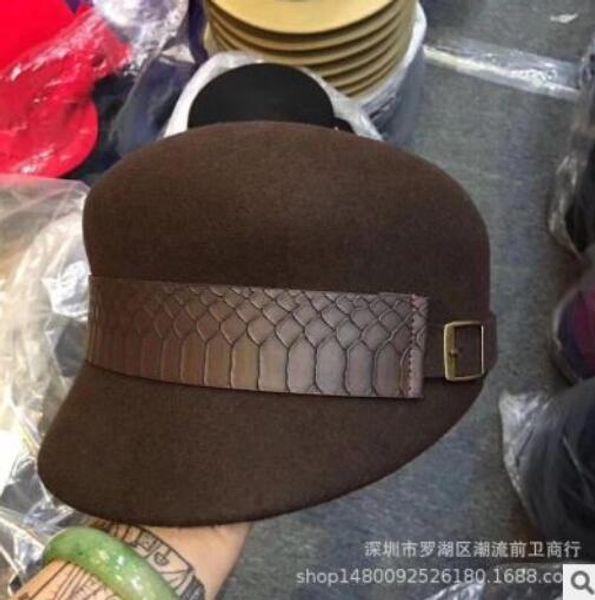 autumn winter all-matching cap fashion belt ladies wool beret Hot style new Korean version designer caps