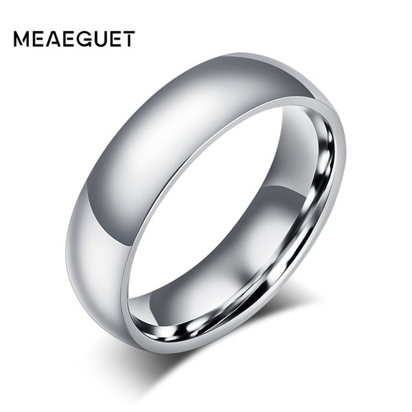 Meaeguet 6mm Simple Classic Silver Color Stainless Steel Engagement Rings For Men Women Jewelry Wedding Bands