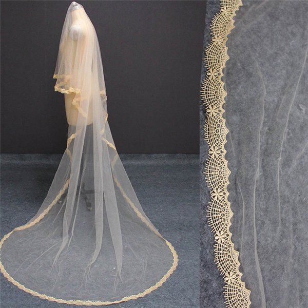Long Champagne Lace Wedding Veil WITHOUT Comb 3 Meters One Layer Cover Face Cathedral Veil NV7162