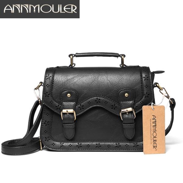 Annmouler High Quality Women Crossbody Bag Vintage Shoulder Bag Black Small Handbags Pu Leather Satchel HollowOut Briefcase