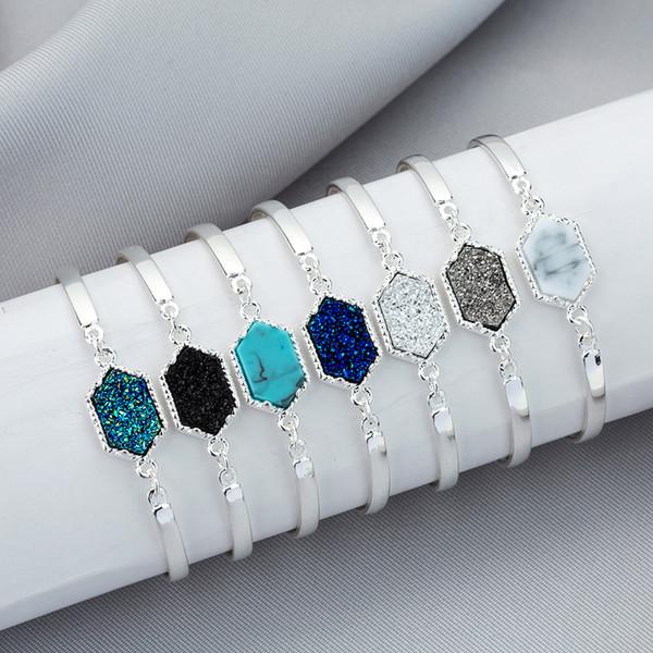 HRN designer Druzy wire Bangle faux Geometric Natural stone charm bracelets For women s Fashion Jewelry Gift K3010