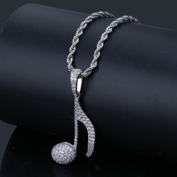 Hip Hop Necklace Gold Silver Cubic Zirconia Pendants Necklaces Women Men Twist Chain Bling Musical Note Jewelry Hot Sale