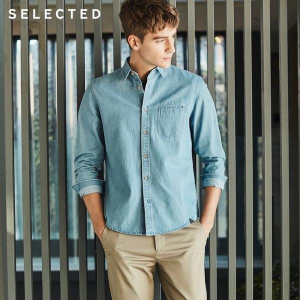 cotone di colore solido business casuale degli uomini jeans a maniche lunghe I   417105559