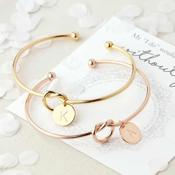 Fashion Simple Twist Cuff Open Knot Bangles Disc Initial Letter Charm Bangle Bracelet for Women Rose Gold Color Letter Bangles