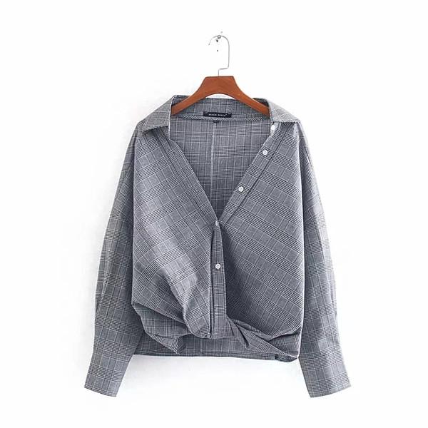 Lazer Mulheres V Neck Knotting Decoração Camisa Xadrez 2020 Lady Primavera mangas compridas Blusas soltas Tops S6795