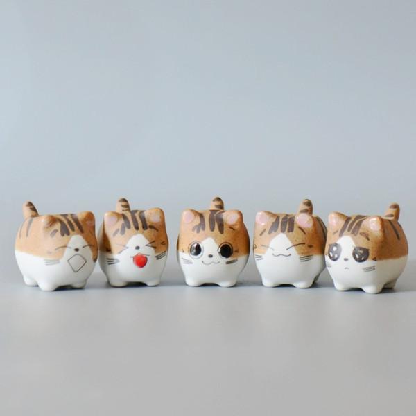 Ollas suculentas Decorativo Simple Gato lindo Animal Pintado a mano Macetas Cerámica Macetas Planta suculenta En macetas en el escritorio Macetas de dibujos animados