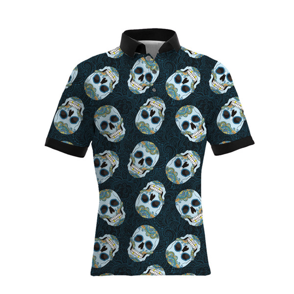 19ss sellers new style skeleton skull printing men's casual polo shirts big size mens luxury designer t shirts loose version