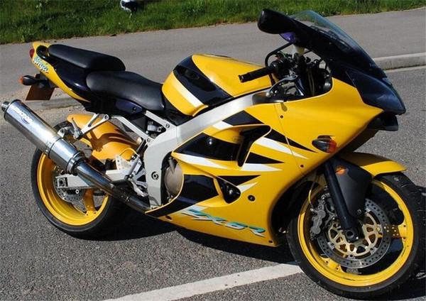 iniezione stampo nuovo ABS carenature del motociclo Kit per Kawasaki Ninja 636 ZX6R 2000 2001 2002 Carrozzeria insieme personalizzato Giallo