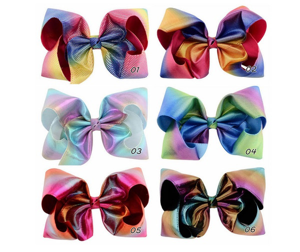 8 Inch Baby girl hair bows barrettes Rainbow Shiny laser Large Bowknot Clippers For Girls Hair Clips Baby Hair Accessory Hairpins 848 1