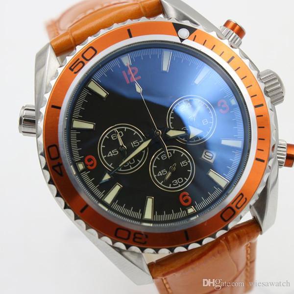 Relojes de pulsera líderes con mejores ventas Reloj de hombre con cronómetro de cuarzo Dial negro 44MM Relojes para hombre al aire libre con correa de cuero naranja