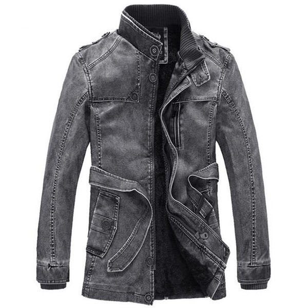 Winter Leather Jacket Men Stand Collar Leather Motorcycle Jackets Mens Fashion Thick Velet Warm Washed Long Windbreaker Coats