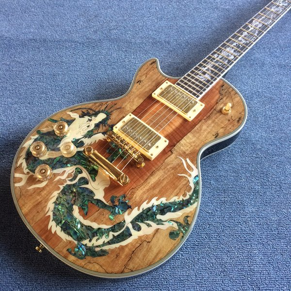 Electric guitar lp map panel tran parent log guitar with real abalone inlay gold hardware ro ewood fingerboard with dragon inlay19