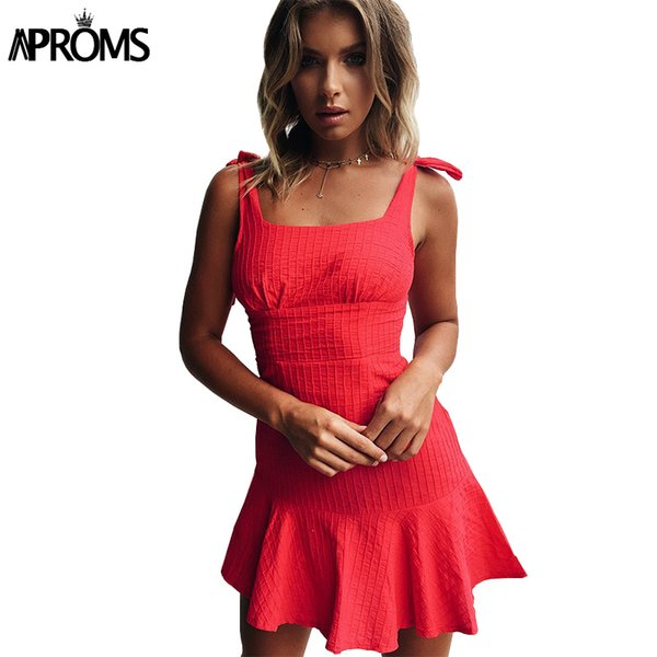 Aproms Red Blue Plaid Tie Up Dress Summer Square Collar High Waist Ruffle Sundress Women Sexy Slim Bodycon Mini Dresses Vestidos