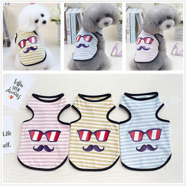 Cachorro Gafas Moustache Chaleco Mascota Perro Verano Sin mangas Bigote Impreso Raya Chaleco Teddy Summer traje fresco