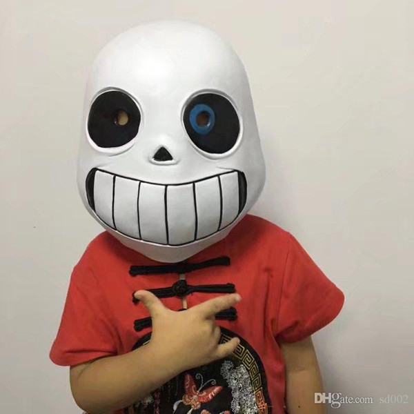 Game Mask Undertale Sans Headgear Cosplay Facepiece Black White Latex San Blue Eyed Head Decorate Supplies Hot Sales 26zpC1