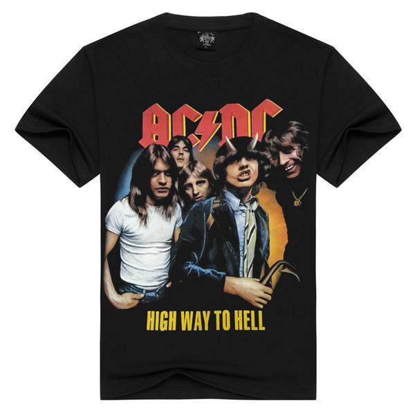 AC / DC Banda Rock T Shirt Dos Homens T-shirt acdc Imprimir Casual O Pescoço Hip Hop Manga Curta Tshirt