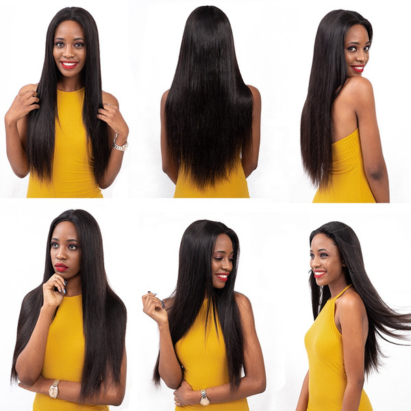 In stock beautiful unprocessed remy virgin human hair long natural color silky straight full front lace cap wig for white women