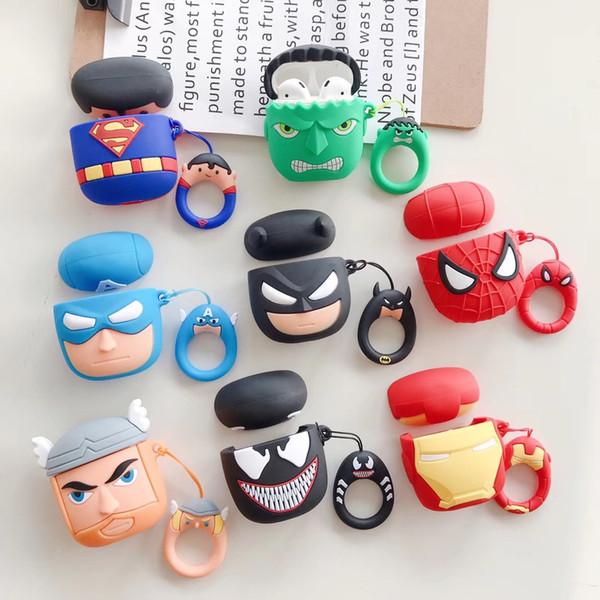 Étui Marvel Wireless Bluetooth Silicone pour écouteurs AirPods 2 2e casque Venom Thor Superman Hulk Couverture casque Pouch de protection
