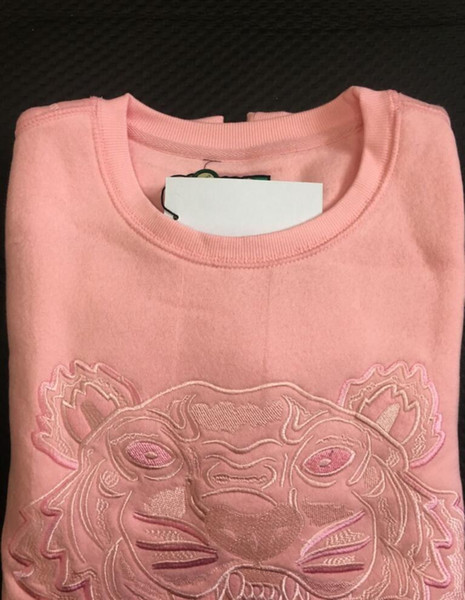 top popular Embroidery tiger head sweater man woman high quality long sleeve O-neck pullover Hoodies Sweatshirts jumper best quality Pink Colors 2021