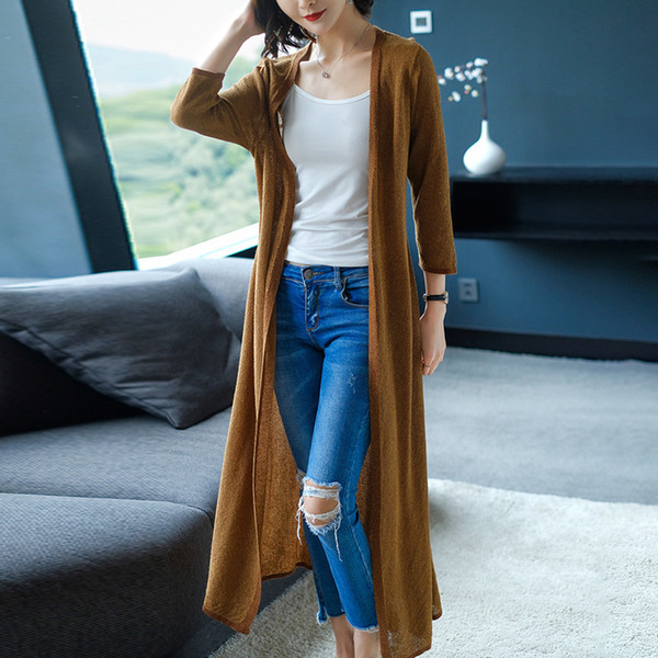 2019 New Spring Autumn Women Long Sleeve Knitwear Kimono Thin Sweater Cardigans Solid Color Knitted Outerwear Plus Size 0107-110