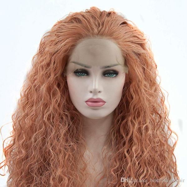 Synthetic Wigs With Baby Hair Pink Colored Loose Curly Glueless Rose Gold Pink Synthetic Lace Front Wig Heat Resistant Fiber For White Women