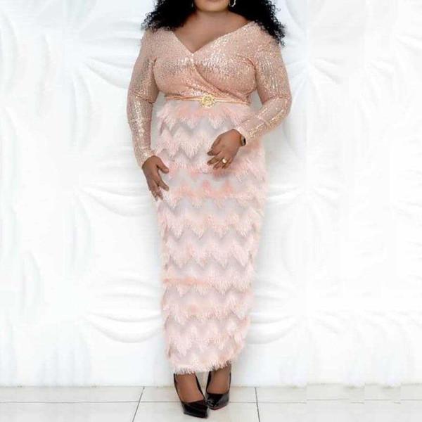 Party Dress Paillettes signore africano di lusso con piume frangia sexy scollo a V glitter vita alta Night Club sera lungo abito rosa