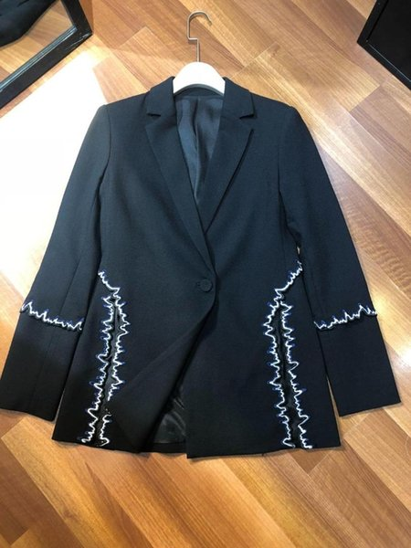 2019 new ladies fashion long sleeve lapel embroidery back open side fork suit 0524