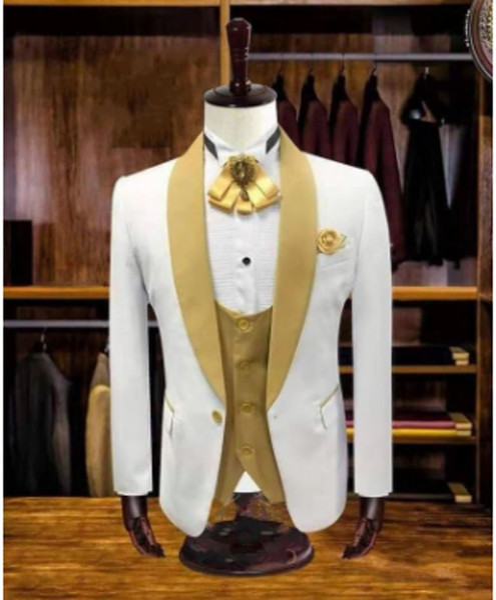 Real Photo Ivory do casamento do noivo Smoking Mens gola Negócios Prom Party Blazer Suit Coat (jacket + pants + Vest + Tie) W1083