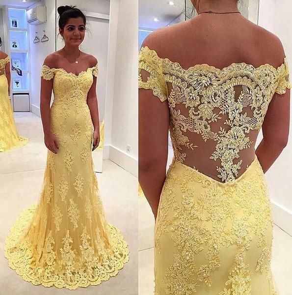 vestidos de moda de baile amarelo 2019 fora das mulheres ombro bainha concurso apliques de renda vestido eveving para festa formal vestidos de novia
