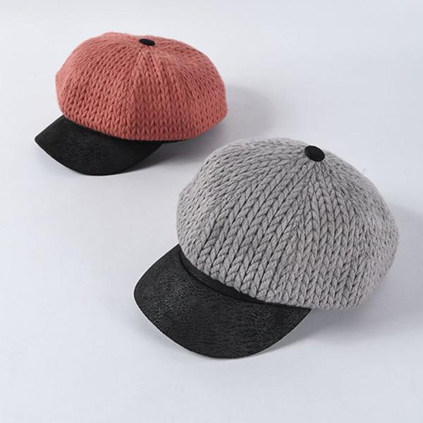 Invierno para mujer japonesa de la entrepierna de punto gorra de béisbol del remiendo del contraste de color clásico Pintor octogonal Beanie sombrero de la boina con visera