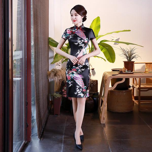 2019 New Women China Style Dresses Summer Fashion Short Sleeve Slim Printed Ladies Dress Plus Size S-6XL