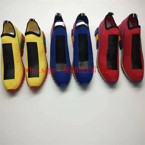 HOT Branded Men Fabric Stretch Jersey Sorrento Slip-on Sneaker Designer Lady Two-tone Rubber Micro Sole Breathable Casual Shoes