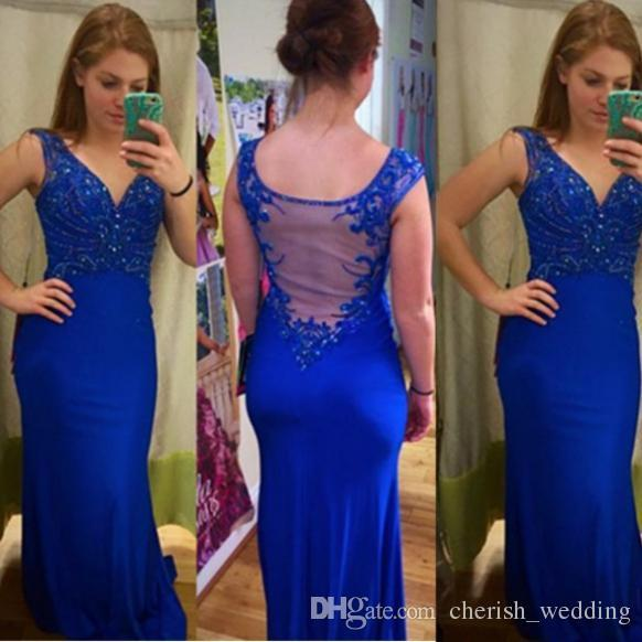 V Neck Mermaid Prom Dress Sexy Formal Evening Gowns Blue Lace Applique Beads 2017 Free Shipping New Arrival Trumpet Dress for Women
