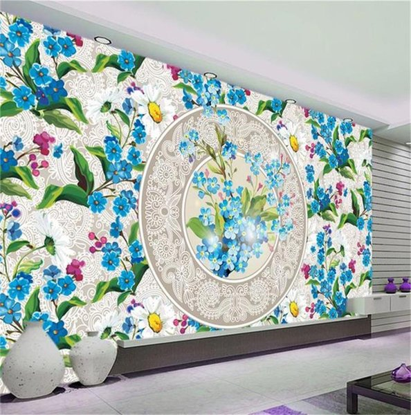 custom size 3d photo wallpaper living room mural European Flower Porcelain Plate picture sofa TV backdrop wallpaper non-woven wall sticker