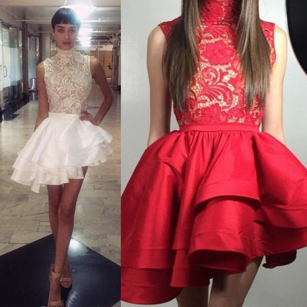 79d845c748b5b Short Asymmetrical Cocktail Dresses 2019 Top Lace Tiered Ruffle Skirt  Staylish High Neck Cheap Mini Prom Party Gowns Homecoming Dress Cocktail  Dresses ...