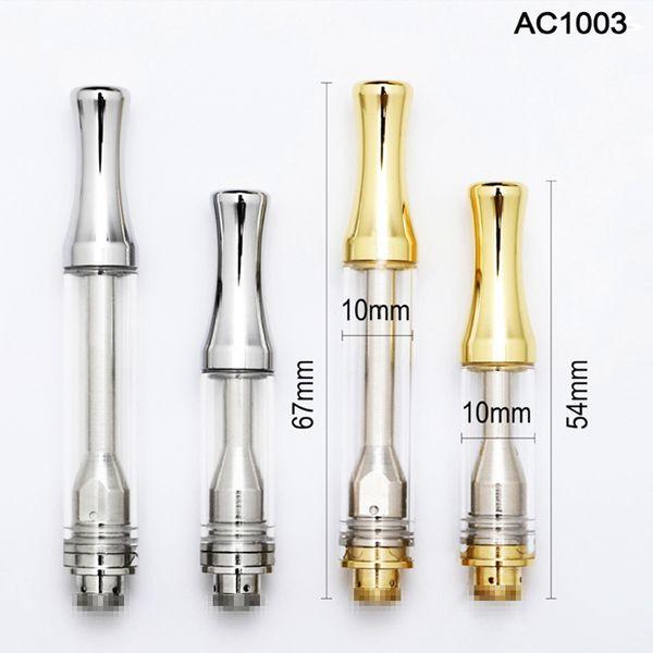 Best selling Kingpen AC1003 Vape Patrone Verpackung 0,5 ml 1,0 ml Silber Gold Metall Glas Tank Keramik Spule 510 Vaporizer Pen Kostenloser Versand