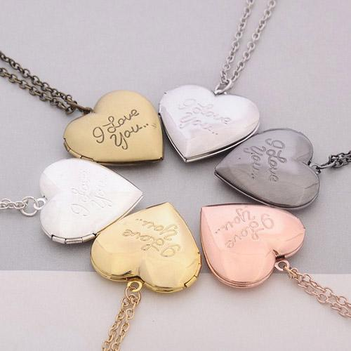 Heart Shaped Friend Photo Picture Frame Locket Pendant for Necklace Romantic Fashion Jewelry Nice Gift free shipping