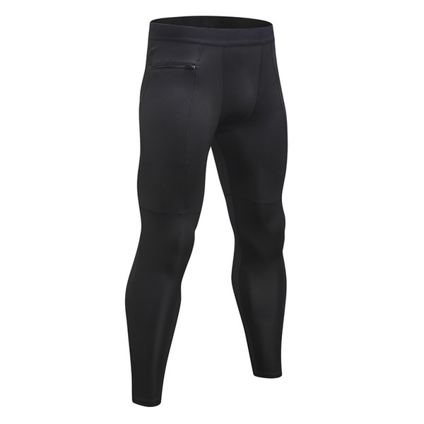 Adisputent Men Fitness Pants Zipper Pocket Exercise Leggings High Elastic Tights Quick-Dry Sweat Absorbed Trousers Plus Size