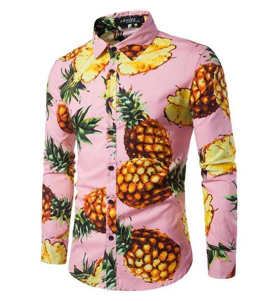 Men's casual shirt Beach wind California fashion dynamic big pineapple print holiday mens long-sleeved shirt