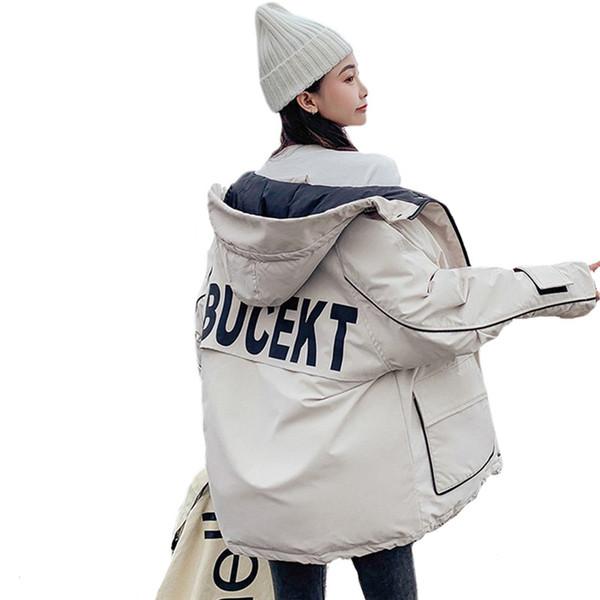 Chaqueta de moda chaquetas con capucha parka de invierno para mujer estilo corto 2019 nuevo sombrero flojo coreano Escudo Parkas Mujer Prendas de abrigo R1103