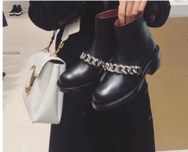 Zapatos Mujer Chain Ankle Boots Woman Round Toe Thick Low Heels Martin Boots zip shoes biker boots women