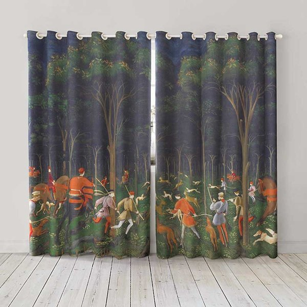 Personality Custom curtain world famous painting Hunt in the forest by paolo drapes Extra wide Blackout curtain party decoration background