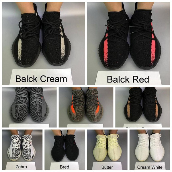 2019 Chaude Adidas Kanye West yeezy 350 Hommes Femmes Desinger Chaussures De Course Baskets Zebra Static Black Bred Crème Blanc De Sésame En Plein Air Meilleurs Sports Sneakers