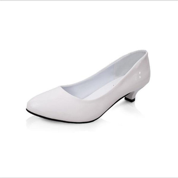 2019 Dress POADISFOO Women 's Spring And Summer Round White Casual Low Heeled Shoes Patent Leather Shoes For Women .LSS-805